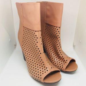 Peep-toe ankle booties